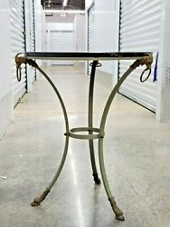Vintage Neoclassical Marble Top Steel Rams Head Table With Hairy Paw Feet