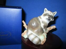 Herend Hungary Guild Society 15854 Porcelain Raccoon Figurine Natural