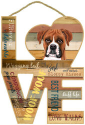 Boxer Love Word Art Wood Cut Out 8quot;x11quot; Cute Hanging Dog Sign Gift Home NEW L49