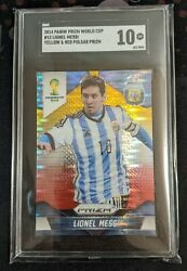 2014 Panini Prizm Lionel Messi Rc World Cup Red Yellow Pulsar Parallel Sgc 10 Gm