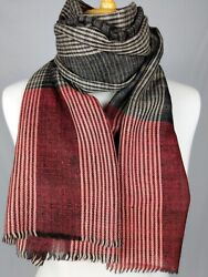 Black Red Ikat Weave Pure Ladhaki Cashmere Scarf Stole Handmade In Kashmir