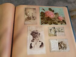 Vintage Scrap Book Pictures Postcards 9ld Artifacts Advertising Old Book Lot