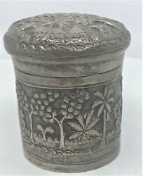 Antique Repousse High Relief Hand Chased Sterling Silver India Trinket Box