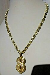10kt Diamond Cut Rope Chain 20 5mm 22.7g And 14kt Diamond And Gold Dollar Sign 14.5