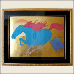 Guillaume Azoulay Equus Deluxe Limited Edition Gold Leaf Framed Print Serigraph