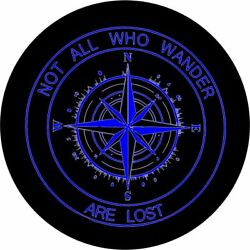 Not All Who Wander Compass Blue Graphics - Optional Camera Port