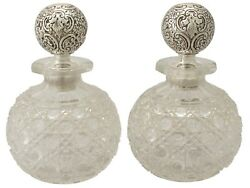 Antique Victorian Pair Of Cut Glass And Sterling Silver Scent Bottles