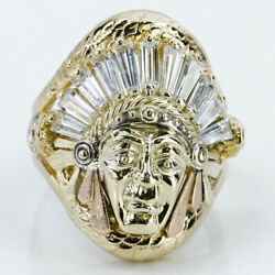 14k Gold Two-tone Native American Indian Chief Head Cz Ring