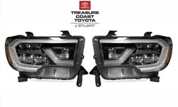 New Oem Toyota Sequoia Trd Pro Limited And Sr5 Black Led Front Headlights 2pc