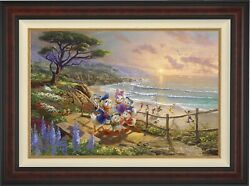 Thomas Kinkade Studios Donald And Daisy A Duck Day Afternoon 12 X 18 S/n Framed