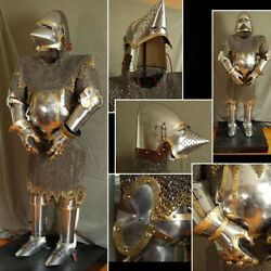 Medieval Churburg Chain-mail Suit Of Armor Battle Warrior Armor Suit 18g Steel