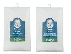 2 Gerber 10 Packs Organic Prefold Cotton Cloth Diapers With Pad Total Of 20
