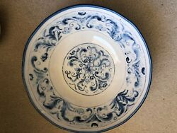 Sur La Table Blue And White Handcrafted Bowl From Italy