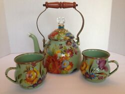 Mackenzie Childs Enamel Teapot And Kettle And Cups Flower Market Unused 2 Qt. Green