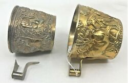 Sterling Silver Gold Wash Antique Pair Cups Repousse High Relief 3d Bulls Greek