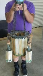 Period Arts And Crafts Bronze And Stained Glass Chandelier