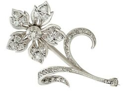 Antique Victorian 1.89 Ct Diamond And 9k Yellow Gold Silver Set Floral Brooch