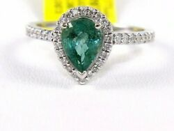 Natural Pear Shape Emerald And Diamond Halo Solitaire Ring 14k White Gold 1.68ct