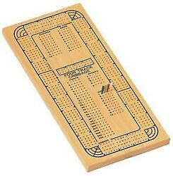 We Games 30-3004 Solid Wood Continuous 4 Track Cribbage Board With 4 Different