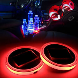 68mm Interior Water Coaster Red Led Light With Solar Charger Mat Mss J2