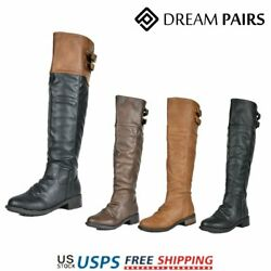 DREAM PAIRS Women#x27;s Over The Knee Boots Faux Leather Military Combat Boots $23.39
