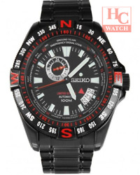 New Seiko Superior Ssa113k1 Compass Le Auto Red Markers Black Dial And Bracelet