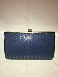 Vintage Whiting and Davis Mesh Purse Evening Bag Navy Blue Gold Chain $15.99