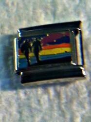 quot;ROMANTIC WALK ON THE BEACHquot; ON RED ITALIAN 9MM CHARM COUPLE MOON WATER LOVE $0.99