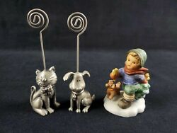 Pewter Dog And Cat Card Holder And Goebel Figure