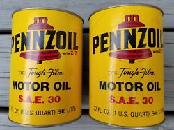 Vintage Pennzoil 2-7 Sealed Motor Oil Can Lot Of 2 - S.a.e. 32 Oz. Oil City, Pa