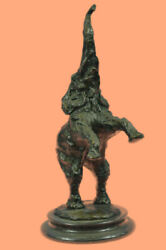 Bronze Sculpture Jumping Elephant Hand Made By Lost Wax Method Home Decorative