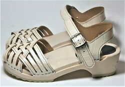 Scandic Handcrafted Clogs Swedish Style Braided Sandal Shoes Pearl Croc 37 200