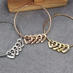 Personalized Women Bracelet With Heart Charms Names Engraved Mother#x27;s Day Gift $14.55