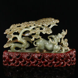 10.2 Chinese 100 Natural Hetian Jade Handcarved Cattle Child Pine Statues