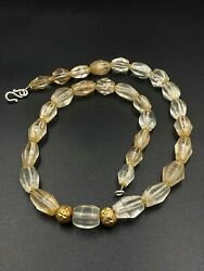 Old Ancient Antique Crystal Quartz Beads Necklace From Himalaya Nepal