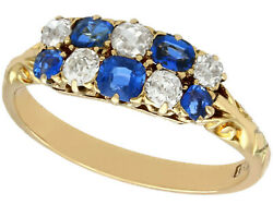 Antique 0.80 Ct Sapphire And 0.62 Ct Diamond 18k Yellow Gold Cocktail Ring 8.25