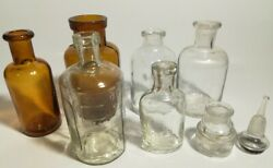 Vintage Old Medicine Bottle 7items Glass Contains Bubbles,embossed,from Japan