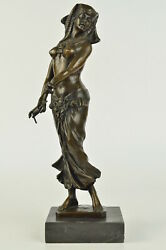 Vintage Art Deco Style Egyptian Style Bronze And Marble Nude Statue Decor Figure