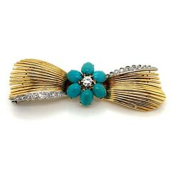18k Two-toned Yellow And White Gold Flower Turquoise With Diamonds Pin Brooch