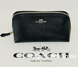 NWT Coach Cosmetic Case 17 Travel Makeup Pouch Crossgrain Leather Black F57857 $41.99
