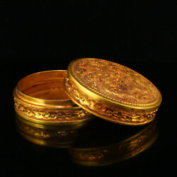 3.5 Antique Chinese Bronze 24k Gilt Handcarved Double Dragon Pattern Boxes