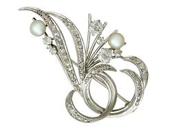 Vintage 1940s 1.10ct Diamond And Pearl 18carat White Gold Brooch