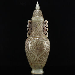 12.7 Old China 100 Natural Hetian Jade Handcarved Bamboo Pattern Vases