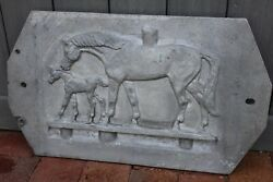 Weathervane Mold Sign Horse And Foal Antique Make Copper Relief Vintage Cast Metal