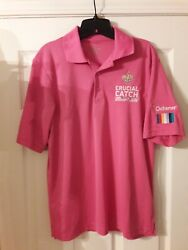 New Orleans Saints Crucial Catch Cancer Awareness Pink Polo Sz Small Used