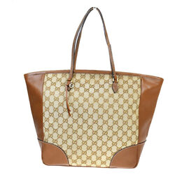 Authentic GUCCI GG Pattern Shoulder Tote Bag Canvas Leather Brown Italy 82MC381 $414.40
