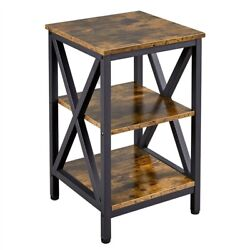 3 Tier Rustic End Table Nightstand Tall Slim Side Couch Table For Bedroom