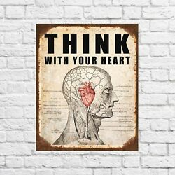 Think with your heart tin sign funny decor funny funny signs funny signs