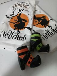 Halloween 2 Dish Towels Ride Or Die Witches W/ Set Of Witch Shoe Sandp Shakers