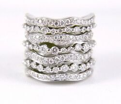 Natural Round Diamond Curve Cluster Long Ladyand039s Ring Band 14k White Gold 3.16ct